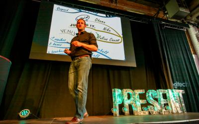 David Nihill speaking at Prezi Present Conference in London.